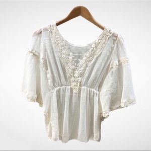 Free People Sheer Butterfly Sleeve Lace Blouse XS